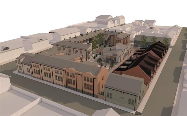 Skede två betyder att de mörkbruna husen längst till höger på skissen börjar byggas samt att Jugendhuset som finns där den gamla korvfabriken stod tas fram.
