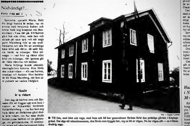 Faksimil från Vasabladet den 23 november 1984.