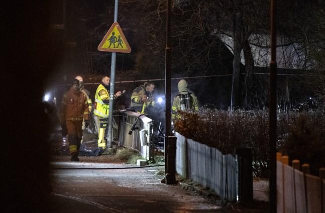 Räddningstjänsten på plats vid haveriplatsen i Ronneby under lördagen. Arkivbild.