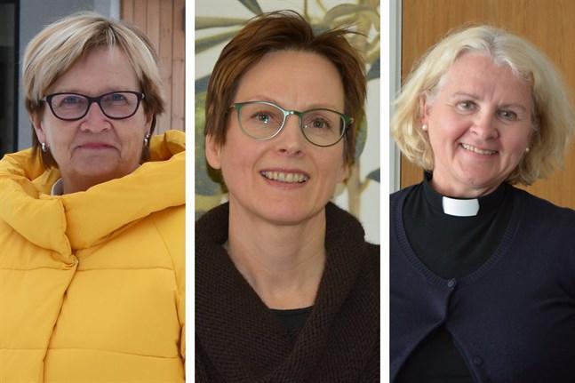 Ulla-Maj Wideroos, Anita Viik-Ingvesgård och Ann-Mari Audas-Willman kandiderar alla i valet till kyrkomötet, det högsta beslutande organet inom kyrkan.