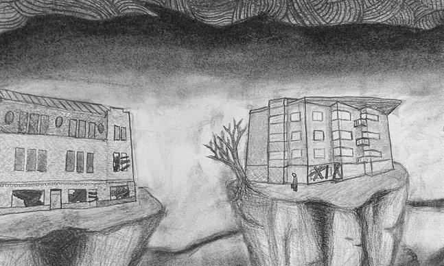 Övergivna hus och en ensam figur syns på ett utsnitt av Algot Lunds teckning av Jakobstad.