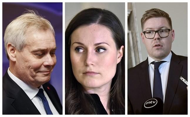 Antti Rinne, Sanna Marin och Antti Lindtman.