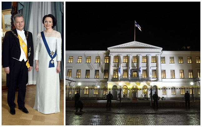 President Sauli Niinistö och fru Jenni Haukio skakar hand med ungefär 1700 gäster på kvällens självständighetsmottagning på slottet. (Bilden på presidentparet är från i fjol).