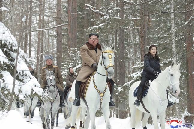 Nordkoreas diktator Kim Jong-Un och hans fru Ri Sol-Ju samt andra företrädare för landets regim. Bilden tillhandahålls av den statliga nyhetsbyrån KCNA och datumet för när den togs har inte kunnat bekräftas från oberoende håll