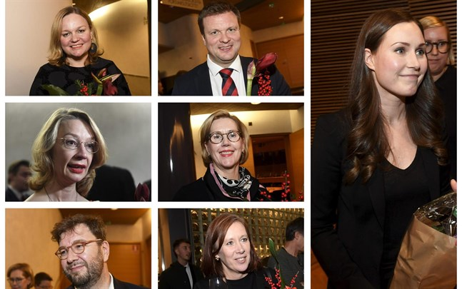 Här är SDP:s förslag till ministrar: Krista Kiuru, Ville Skinnari, Tytti Tuppurainen, Tuula Haatainen, Timo Harakka, Sirpa Paatero och statsminister Sanna Marin.