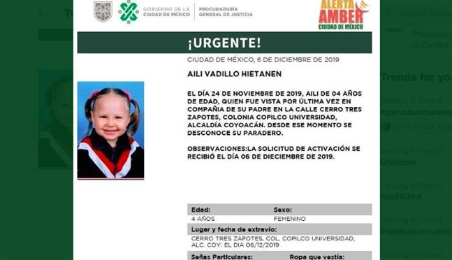 En finländsk flicka har försvunnit i Mexiko, meddelar mexikanska myndigheter.