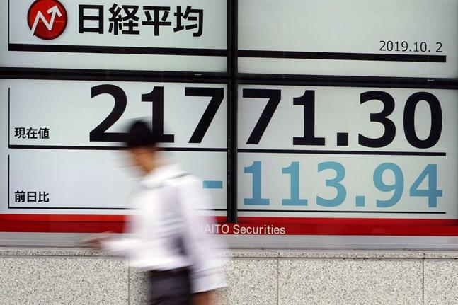 Börserna i Asien sjönk i tisdagens tidiga handel. Arkivbild.