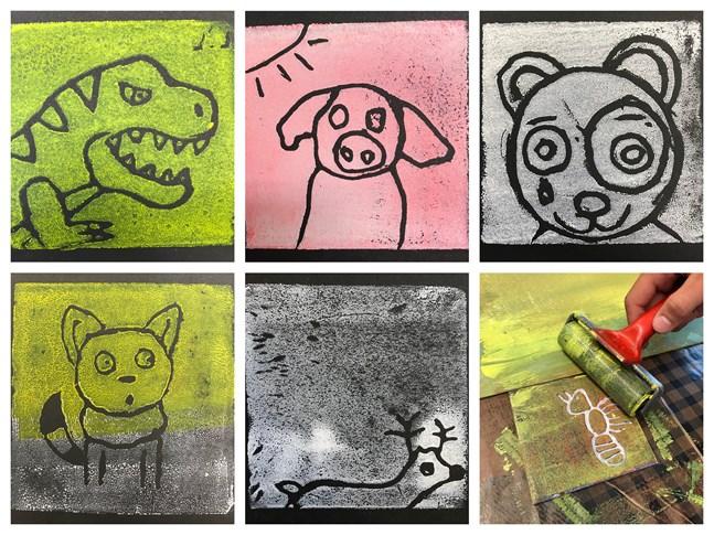 Så här kan det se ut när grundskolelever gör konstgrafik. I Österbotten har närmare 2000 grundskolelever deltagit i workshoppar som ordnats av Barnkulturnätverket i Österbotten, BARK, under 2019.
