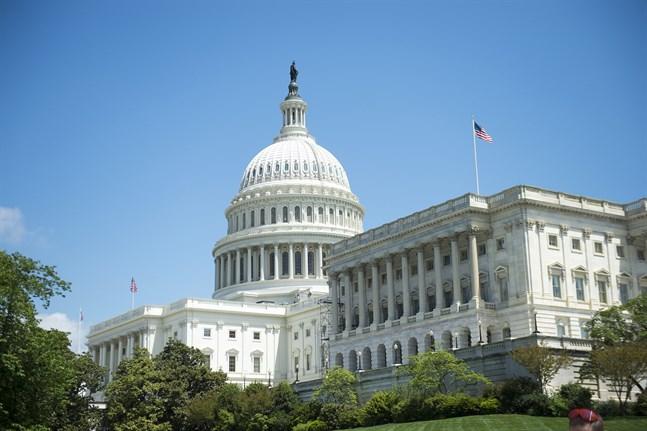 Den amerikanska kongressens säte, Capitolium i Washington DC. Arkivbild.