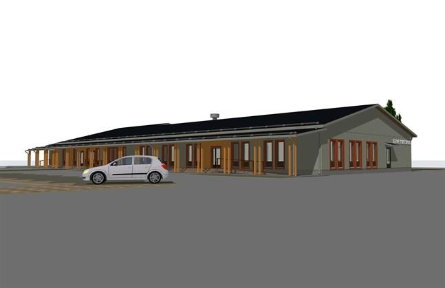 Ungefär så här är Kaskös servicecentral, intill nuvarande skolan, tänkt att se ut.