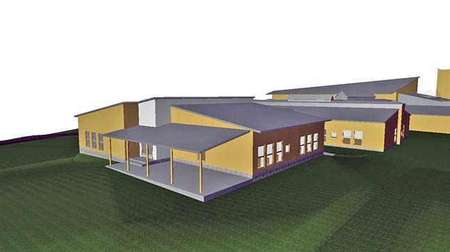 Kantakaupungin koulu byggs ut mot väster. Den nya delen ses längst fram på skissen.