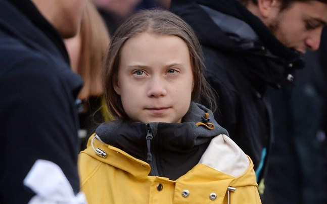 Greta Thunberg under demonstrationerna i Turin.