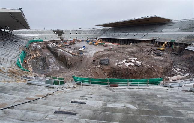 I januari 2017 var Olympiastadion en enda stor byggarbetsplats. Snart börjar bygget vara klart.