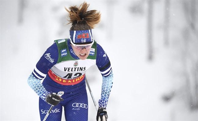 Katri Lylynperä stod för sin bästa världscupinsats i karriären under den individuella sprinten i Dresden.