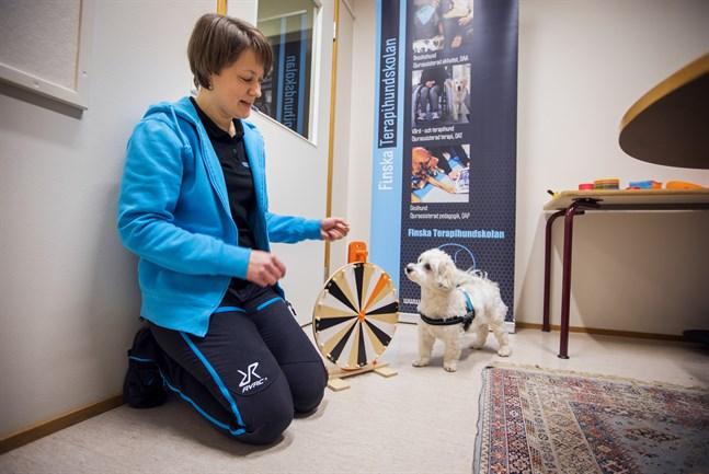 Renja Hakala med terapihunden Cindy arbetar tillsammans i Norra Korsholms skola.