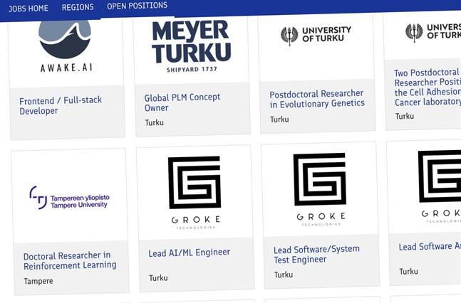 Skärmdump från webbsidan Jobs in Finland. Sidan ska locka utländska experter till Finland.