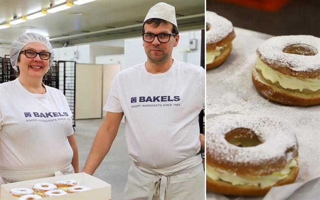 Marika och Mikael Lillkung driver Lillkungs bageri i Oravais och i år säljer de nyheten donitssemlan.