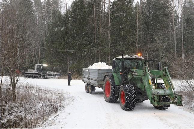 Så här såg det ut när Öjbergets konstsnöspår gjordes i ordning i januari i år.