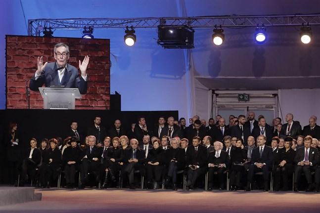 Auschwitzöverlevaren Marian Turski var en av många som höll tal vid minnesceremonin i Auschwitz, på dagen 75 år efter förintelselägrets befrielse.