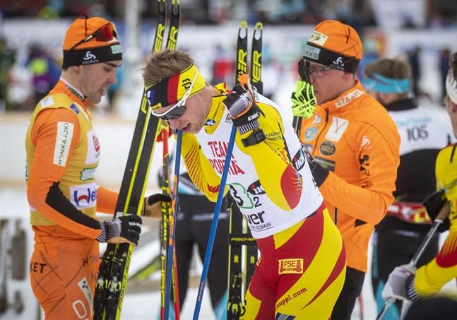 Joni Mäki hade hoppats på att kunna utmana Ristomatti Hakola på sista sträckan, men avståndet var för stort.
