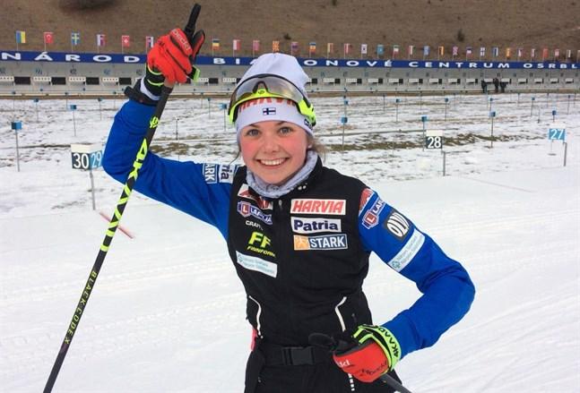 Heidi Kuuttinen var väldigt nöjd med sin insats i distansloppet i junior-EM. Mästerskapet avbröts på grund av coronapandemin.