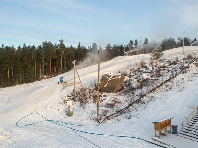 Så här såg det ut vid Öjbergets skidcenter i början av februari.