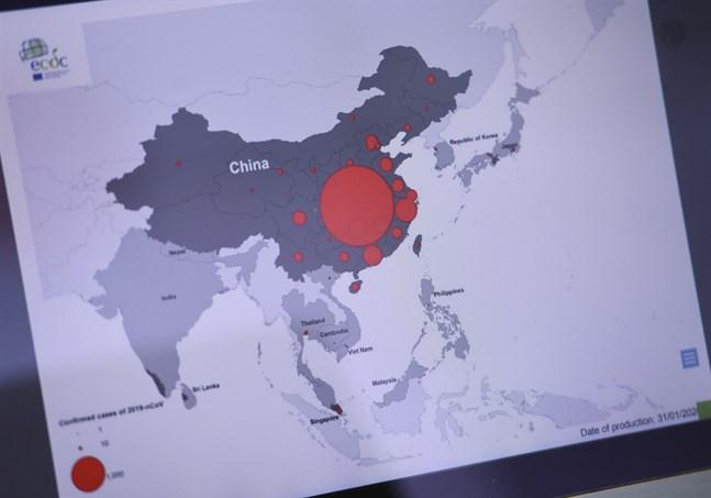 Coronavirusets spridning i Kina. Arkivbild.