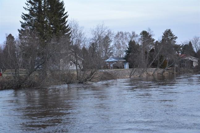 I Lappfjärds å låg vattenflödet på omkring 100 kubikmeter per sekund på tisdagen. På onsdagen hade det sjunkit till cirka 70 kubikmeter per sekund.