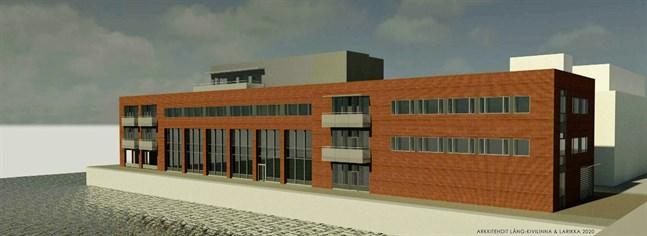 Den nya byggnaden vänder sig mot Vasa elektriskas hus vid Brändö bro. Vebic är den vita huskroppen till höger.