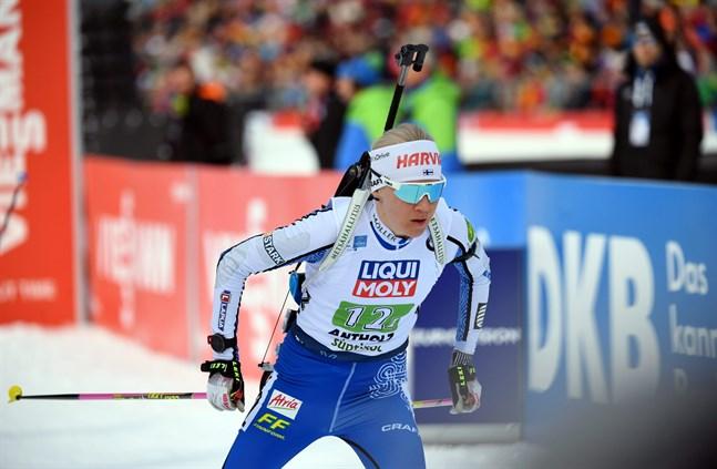 Kaisa Mäkäräinen sköt bort medaljen genast i det liggande skyttet.