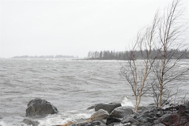 Det var rejält blåsigt vid Öskata fiskehamn i Nämpnäs på söndag eftermiddag.