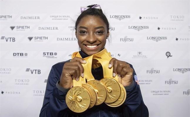 Simone Biles utsågs till årets idrottskvinna tack vare sina fem VM-guld. Arkivbild.