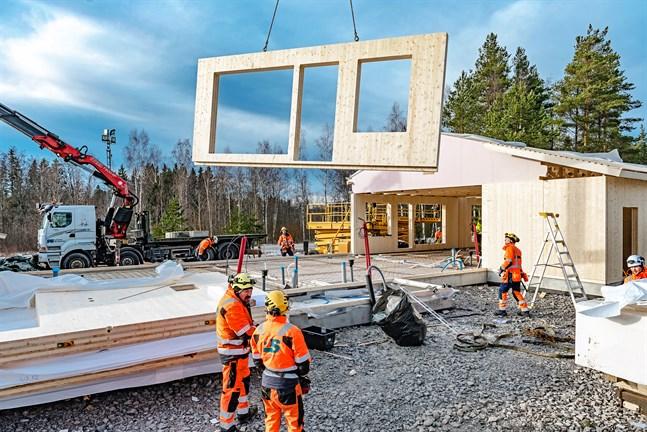 Snabb process att lyfta träelementen på plats. Radhuset som byggs vid Solkulla är det första som Jake Bygg gör med CLT-element.