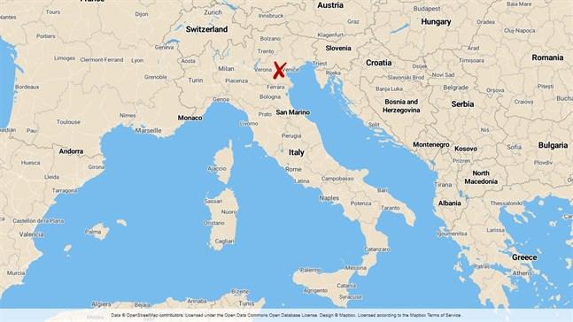 Dödsfallet inträffade i regionen Veneto i nordöstra Italien.