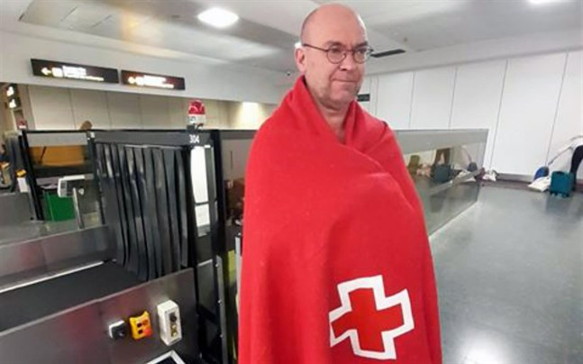 Roy Holm är hemma nu efter att ha varit strandsatt på Gran Canaria i några dagar på grund av sandstorm.