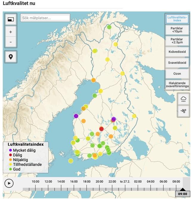 På torsdagsmorgonen var luftkvaliteten sämst i Vasa och Siilinjärvi, enligt Meteorologiska institutet.