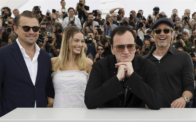 Leonardo DiCaprio, Margot Robbie, Quentin Tarantino och Brad Pitt vid förra årets Cannesfestival.