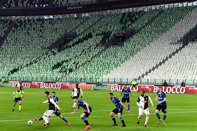 Juventus och Inter spelade en Serie A-match inför tomma läktare i söndags.