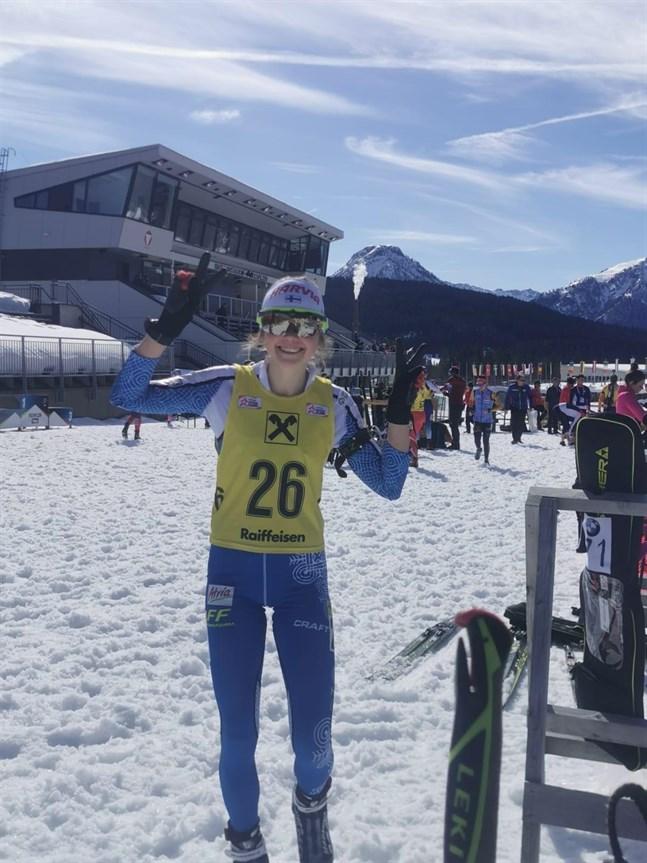 Det var rejält varmt då Heidi Kuuttinen skidade i Österrike.