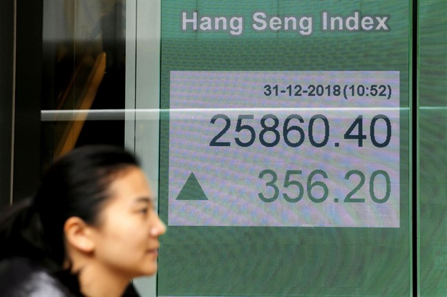 Hang Seng i Hongkong ökade undermorgontimmarna. Bild från december i fjol.