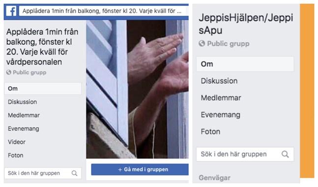 Stora Facebookgrupper samlar invånare för att hylla vårdpersonal eller erbjuda en hjälpande hand.
