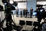 Bilden är tagen under statsrådets presskonferens den 17 mars.