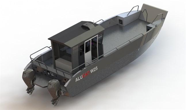 Den båt som Skärgårdsrådet satsar på är en drygt tio meter lång katamaran.