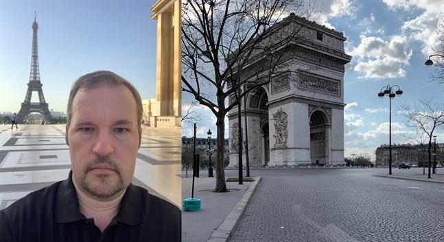 Tomas Karls beskriver stämningen i Paris som absurd och overklig.
