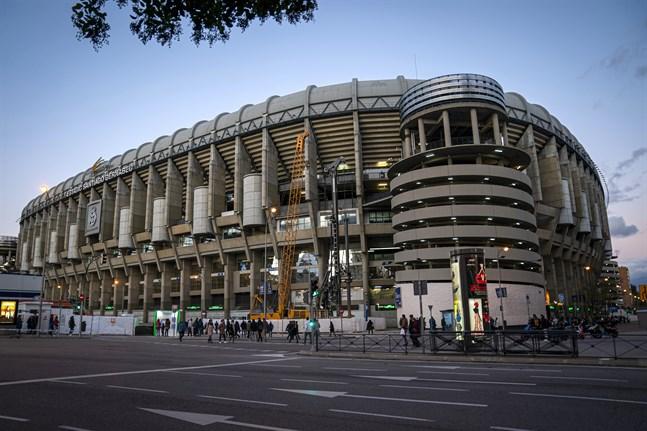 Santiago Bernabéu blir lagerplats för sjukvårdsmaterial i kampen mot Coronaviruset. Arkivbild.