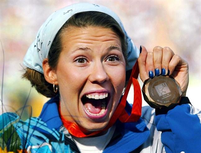 Mikaela Ingberg i EM i München 2002 där det blev brons. Totalt tog hon tre mästerskapsbrons under sin karriär.