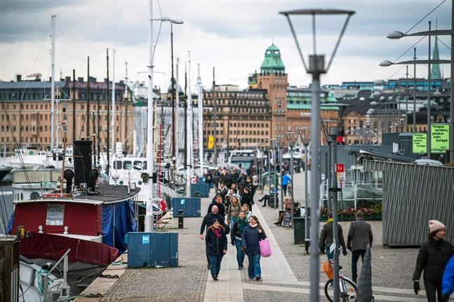 Bilden är tagen den 28 mars på Strandvägen i Stockholm.
