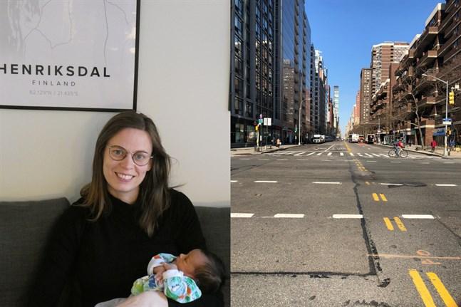 Sandra Grindgärds från Kristinestad bor på Manhattan tillsammans med sin man och deras nyfödda dotter Selma.