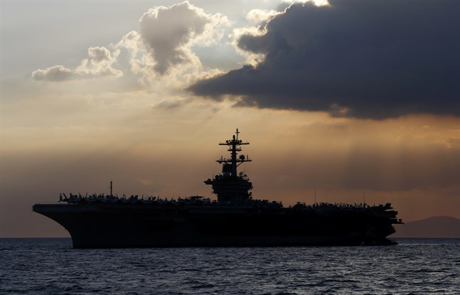 Det amerikanska hangarfartyget USS Theodore Roosevelt. Arkivbild.