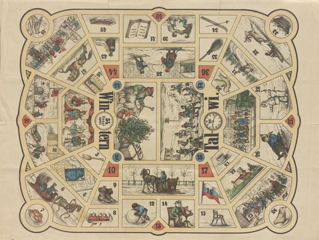 Temat för Talwi-brädspelet från 1871 är vinter.